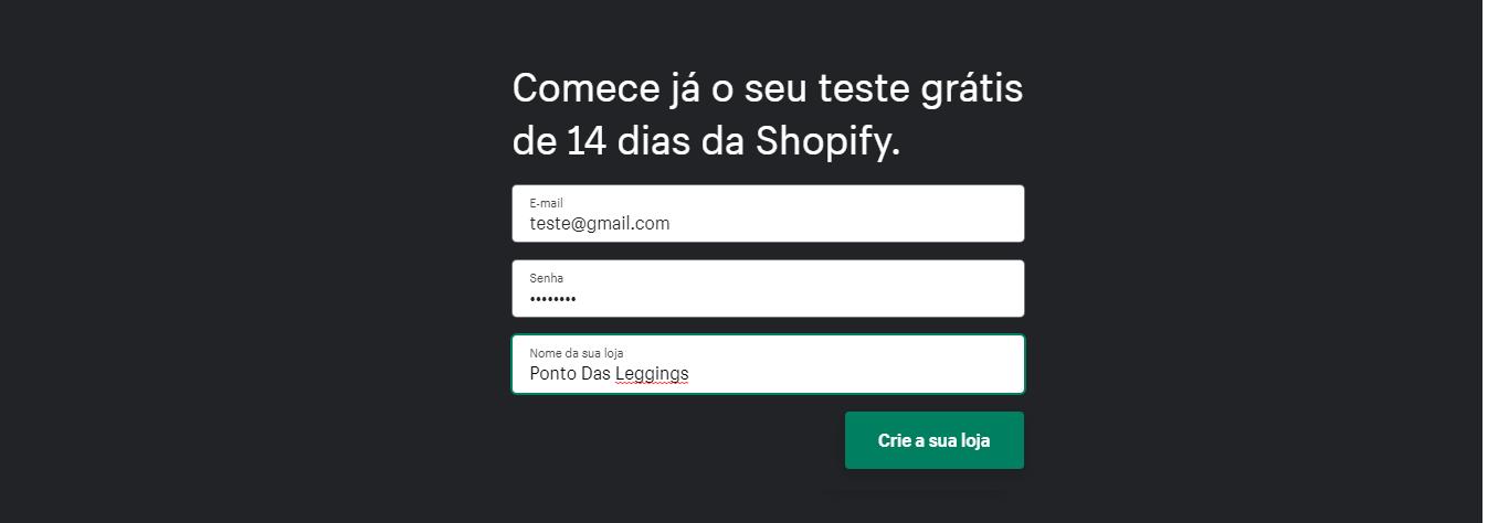 Como criar uma conta com avaliação gratuita Shopify.